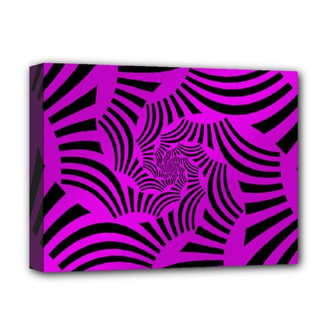 Black Spral Stripes Pink Deluxe Canvas 16  X 12   by designworld65