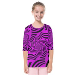 Black Spral Stripes Pink Kids  Quarter Sleeve Raglan Tee by designworld65