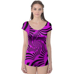 Black Spral Stripes Pink Boyleg Leotard