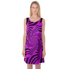 Black Spral Stripes Pink Sleeveless Satin Nightdress