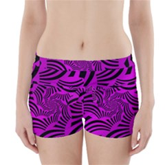Black Spral Stripes Pink Boyleg Bikini Wrap Bottoms