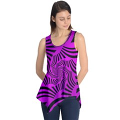 Black Spral Stripes Pink Sleeveless Tunic