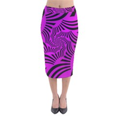 Black Spral Stripes Pink Velvet Midi Pencil Skirt