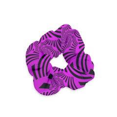 Black Spral Stripes Pink Velvet Scrunchie by designworld65
