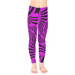 Black Spral Stripes Pink Kids  Legging