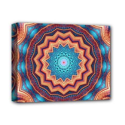 Blue Feather Mandala Deluxe Canvas 14  X 11  by designworld65