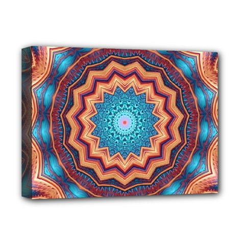 Blue Feather Mandala Deluxe Canvas 16  X 12   by designworld65