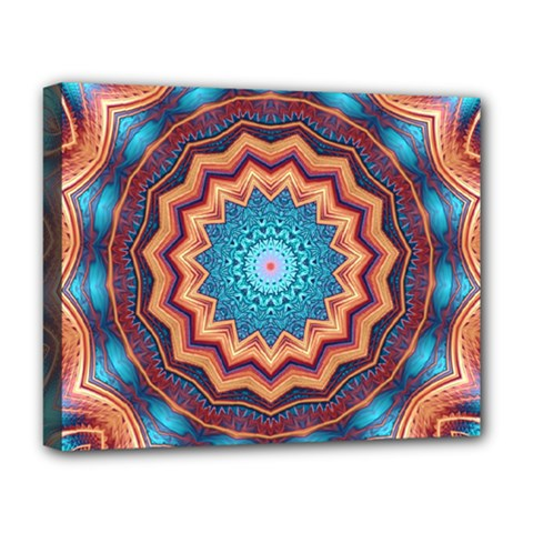 Blue Feather Mandala Deluxe Canvas 20  x 16