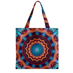 Blue Feather Mandala Grocery Tote Bag
