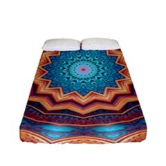 Blue Feather Mandala Fitted Sheet (Full/ Double Size)