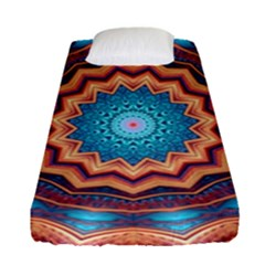 Blue Feather Mandala Fitted Sheet (Single Size)