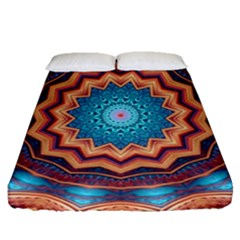 Blue Feather Mandala Fitted Sheet (Queen Size)
