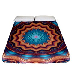Blue Feather Mandala Fitted Sheet (California King Size)