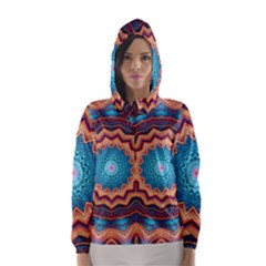 Blue Feather Mandala Hooded Wind Breaker (women)