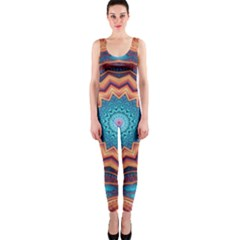 Blue Feather Mandala OnePiece Catsuit
