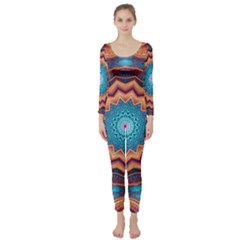 Blue Feather Mandala Long Sleeve Catsuit
