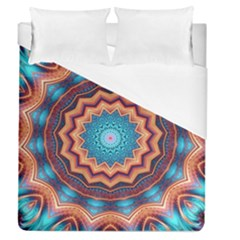 Blue Feather Mandala Duvet Cover (Queen Size)