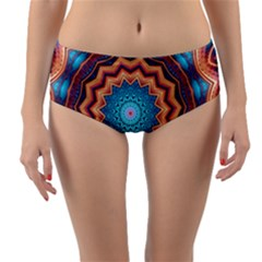 Blue Feather Mandala Reversible Mid Waist Bikini Bottoms