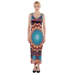 Blue Feather Mandala Fitted Maxi Dress