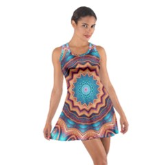 Blue Feather Mandala Cotton Racerback Dress