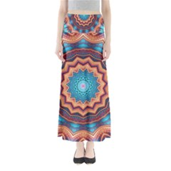 Blue Feather Mandala Full Length Maxi Skirt
