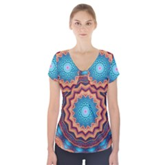 Blue Feather Mandala Short Sleeve Front Detail Top
