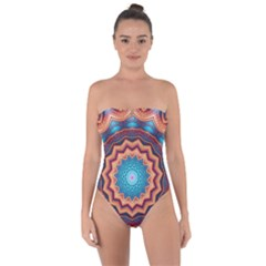 Blue Feather Mandala Tie Back One Piece Swimsuit