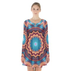 Blue Feather Mandala Long Sleeve Velvet V Neck Dress