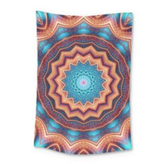 Blue Feather Mandala Small Tapestry