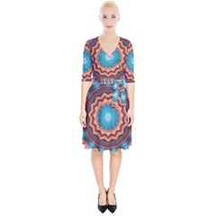 Blue Feather Mandala Wrap Up Cocktail Dress