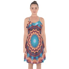 Blue Feather Mandala Ruffle Detail Chiffon Dress