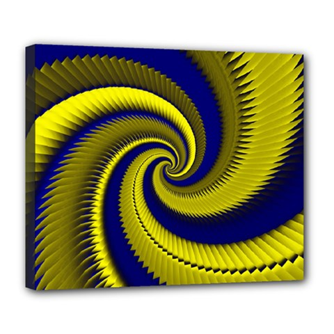 Blue Gold Dragon Spiral Deluxe Canvas 24  X 20   by designworld65