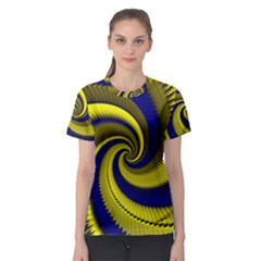 Blue Gold Dragon Spiral Women s Sport Mesh Tee