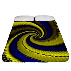 Blue Gold Dragon Spiral Fitted Sheet (california King Size)