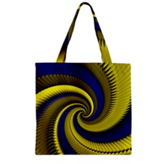 Blue Gold Dragon Spiral Zipper Grocery Tote Bag by designworld65
