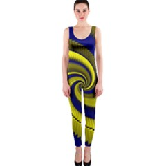Blue Gold Dragon Spiral Onepiece Catsuit
