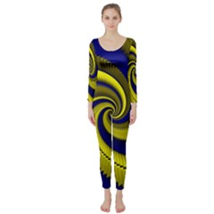 Blue Gold Dragon Spiral Long Sleeve Catsuit