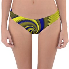 Blue Gold Dragon Spiral Reversible Hipster Bikini Bottoms