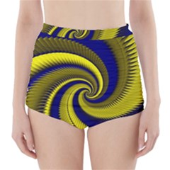 Blue Gold Dragon Spiral High Waisted Bikini Bottoms