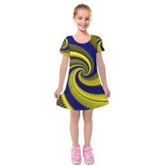 Blue Gold Dragon Spiral Kids  Short Sleeve Velvet Dress