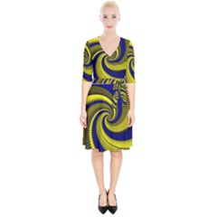 Blue Gold Dragon Spiral Wrap Up Cocktail Dress