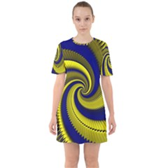 Blue Gold Dragon Spiral Mini Dress
