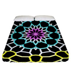 Colored Window Mandala Fitted Sheet (queen Size) by designworld65