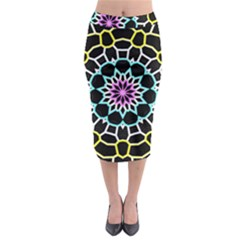Colored Window Mandala Midi Pencil Skirt