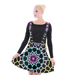 Colored Window Mandala Suspender Skater Skirt