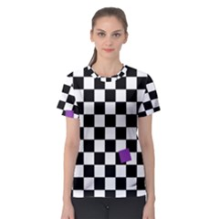 Dropout Purple Check Women s Sport Mesh Tee