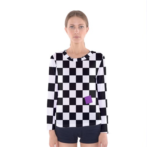 Dropout Purple Check Women s Long Sleeve Tee by designworld65