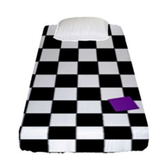 Dropout Purple Check Fitted Sheet (single Size) by designworld65