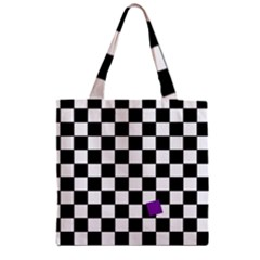 Dropout Purple Check Zipper Grocery Tote Bag by designworld65