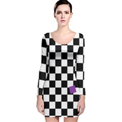 Dropout Purple Check Long Sleeve Velvet Bodycon Dress by designworld65
